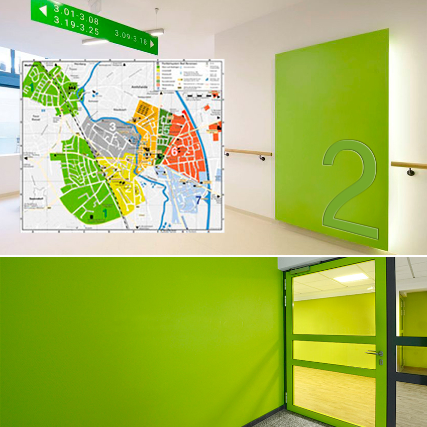 Farbleitsystem, Objektgestaltung, Raumgestaltung, Wandgestaltung